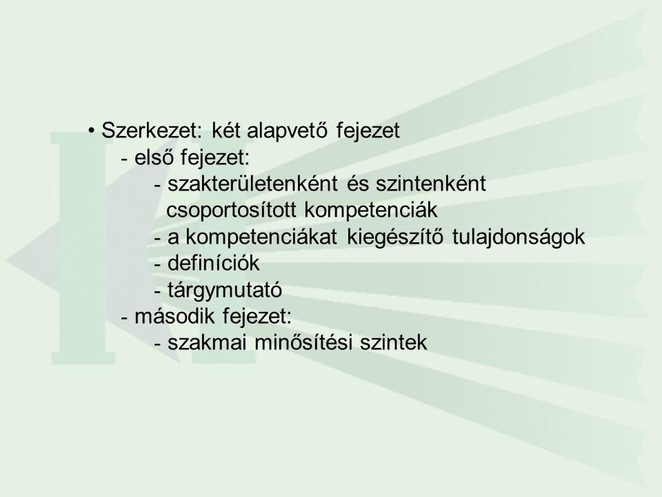 •Szerkezet: két alapvető fejezet - első fejezet: - szakterületenként és szintenként csoportosított kompetenciák - a kompetenciákat kiegészítő tulajdon