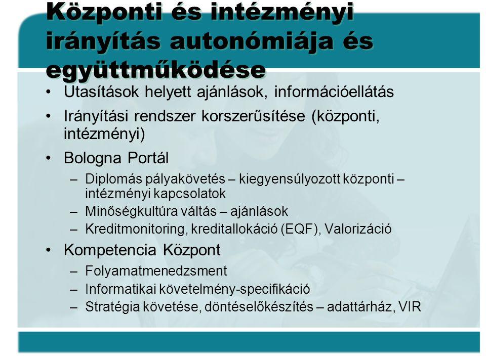 Központi és intézményi irányítás autonómiája és együttműködése •Utasítások helyett ajánlások, információellátás •Irányítási rendszer korszerűsítése (k