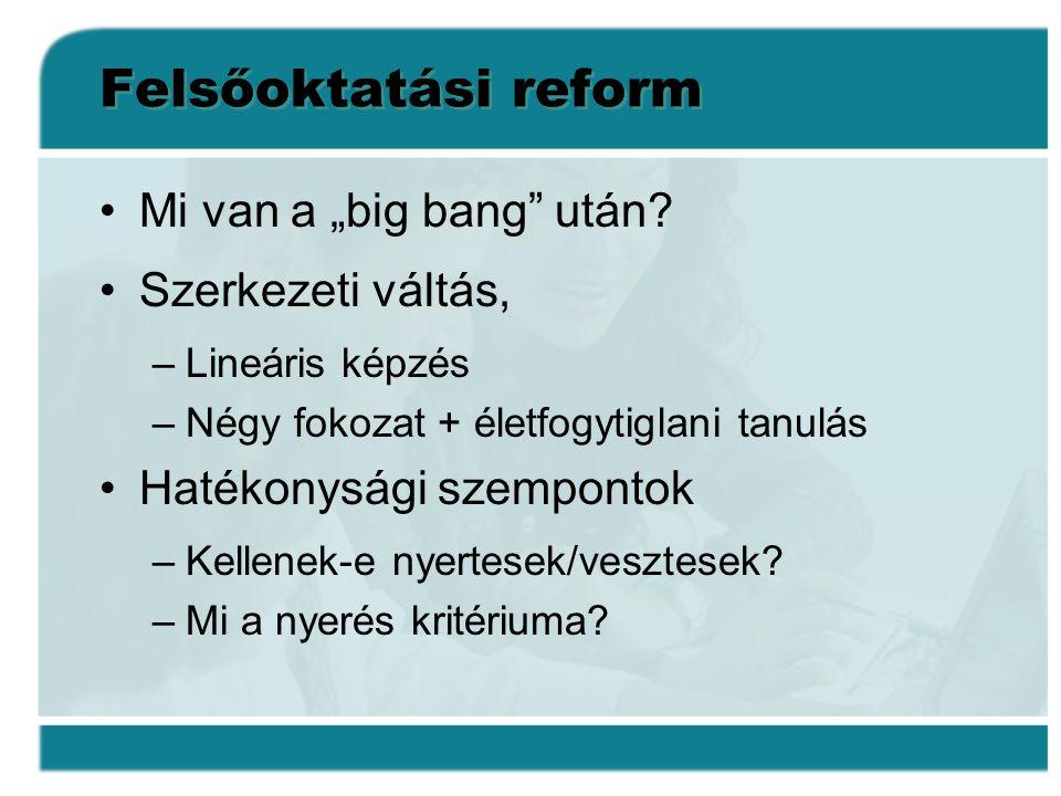 """Felsőoktatási reform •Mi van a """"big bang"""" után? •Szerkezeti váltás, –Lineáris képzés –Négy fokozat + életfogytiglani tanulás •Hatékonysági szempontok"""