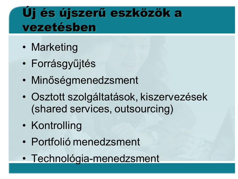 Új és újszerű eszközök a vezetésben •Marketing •Forrásgyűjtés •Minőségmenedzsment •Osztott szolgáltatások, kiszervezések (shared services, outsourcing) •Kontrolling •Portfolió menedzsment •Technológia-menedzsment