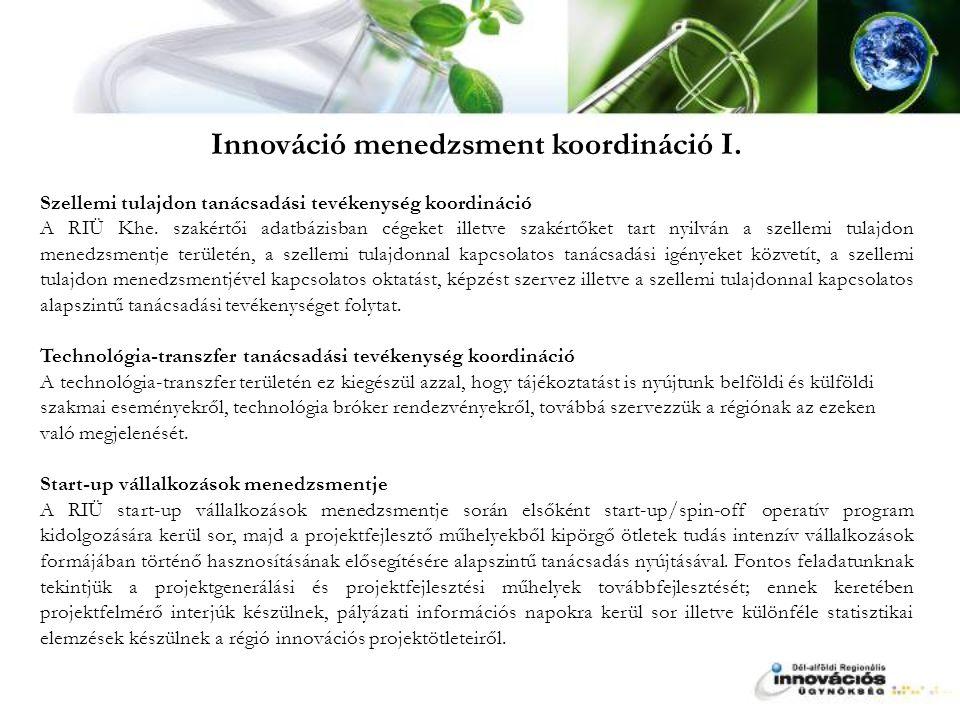 Innováció menedzsment koordináció I.