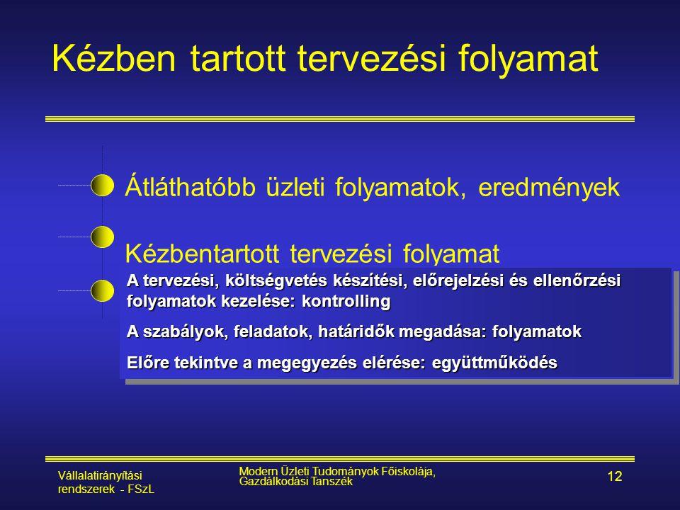 Vállalatirányítási rendszerek - FSzL Modern Üzleti Tudományok Főiskolája, Gazdálkodási Tanszék 12 Átláthatóbb üzleti folyamatok, eredmények Kézbentart