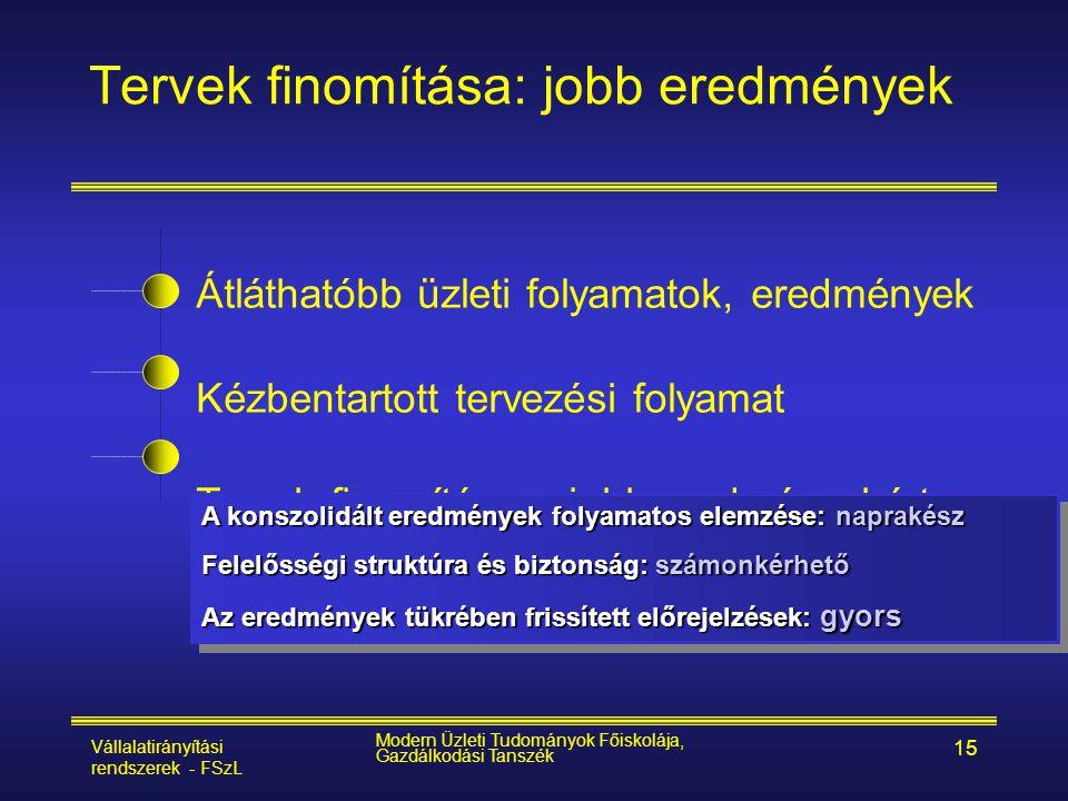Vállalatirányítási rendszerek - FSzL Modern Üzleti Tudományok Főiskolája, Gazdálkodási Tanszék 15 Átláthatóbb üzleti folyamatok, eredmények Kézbentart