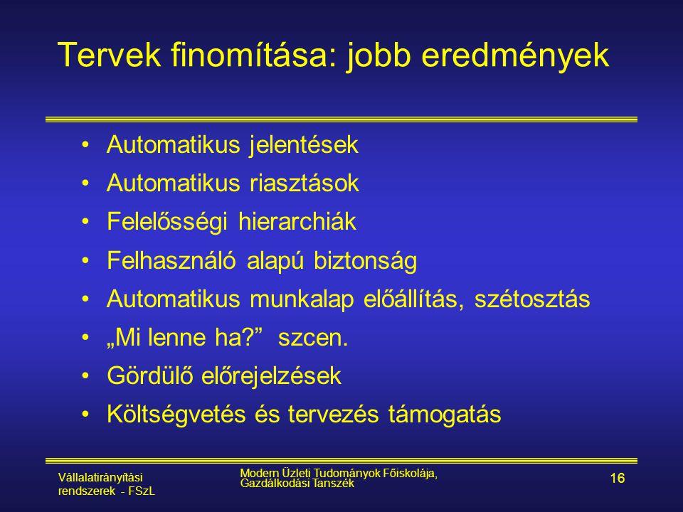 Vállalatirányítási rendszerek - FSzL Modern Üzleti Tudományok Főiskolája, Gazdálkodási Tanszék 16 •Automatikus jelentések •Automatikus riasztások •Fel