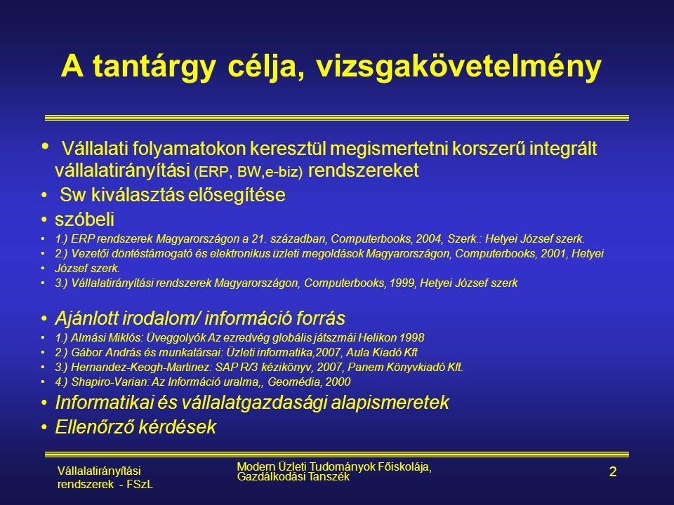 Vállalatirányítási rendszerek - FSzL Modern Üzleti Tudományok Főiskolája, Gazdálkodási Tanszék 53 ERP logisztika PS PM QM FI COAM HR Költség- számítás Számvitel Eszközök Emberi erőforrás Projektek Hálótervek TMK Javítás Karbantartás Vizsgálat tervezés Vizsgálat lebonyolítása Eladás és nagyvonalú termelés-tervezés Program - /termék - tervezés Anyagszükséglet-tervezés Kapacitás-tervezés Gyártásvezérlés Kalkuláció Folyamatvezérlés PP MM Beszerzés Raktár Számlaellen- őrzés SD Értékesítés Kiszállítás Számlázás Vevők Szállítók Információs rendszer