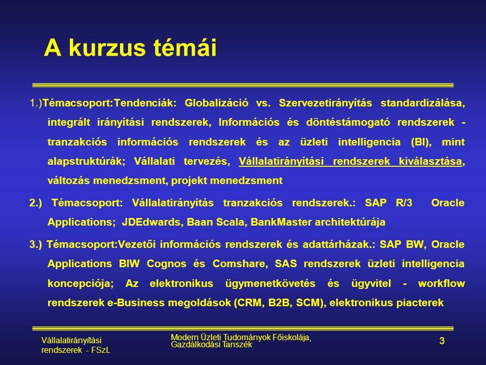 Vállalatirányítási rendszerek - FSzL Modern Üzleti Tudományok Főiskolája, Gazdálkodási Tanszék 3 A kurzus témái 1.)Témacsoport:Tendenciák: Globalizáci