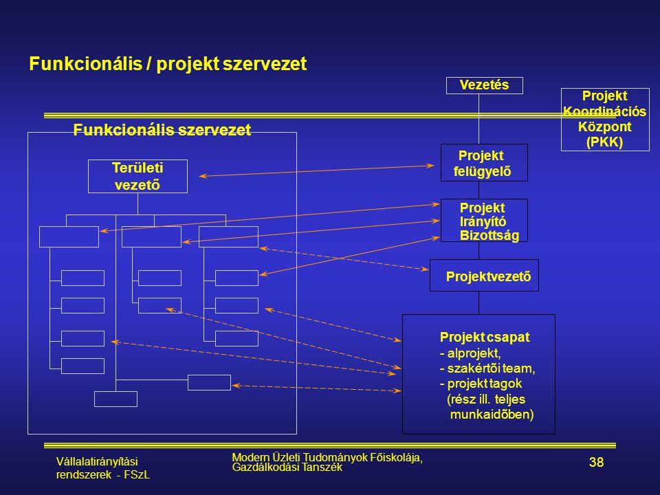 Vállalatirányítási rendszerek - FSzL Modern Üzleti Tudományok Főiskolája, Gazdálkodási Tanszék 38 Funkcionális / projekt szervezet Területi vezető Pro