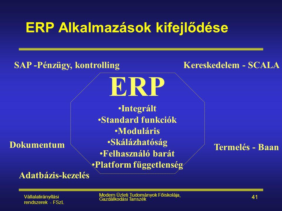 Vállalatirányítási rendszerek - FSzL Modern Üzleti Tudományok Főiskolája, Gazdálkodási Tanszék 41 ERP Alkalmazások kifejlődése Kereskedelem - SCALASAP