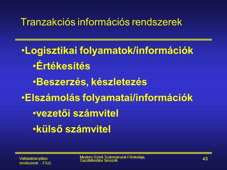 Vállalatirányítási rendszerek - FSzL Modern Üzleti Tudományok Főiskolája, Gazdálkodási Tanszék 43 Tranzakciós információs rendszerek •Logisztikai foly