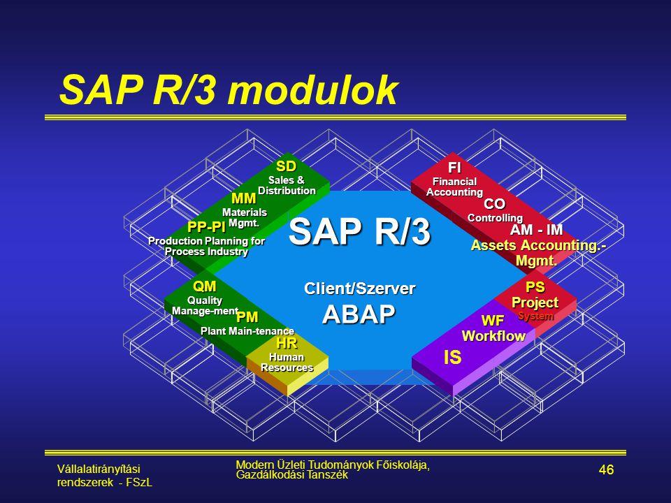 Vállalatirányítási rendszerek - FSzL Modern Üzleti Tudományok Főiskolája, Gazdálkodási Tanszék 46 SAP R/3 modulok IS SAP R/3 Client/SzerverABAP FIFina