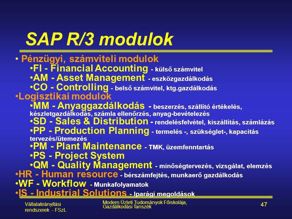Vállalatirányítási rendszerek - FSzL Modern Üzleti Tudományok Főiskolája, Gazdálkodási Tanszék 47 SAP R/3 modulok • Pénzügyi, számviteli modulok •FI -