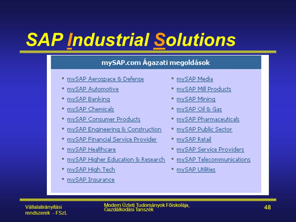 Vállalatirányítási rendszerek - FSzL Modern Üzleti Tudományok Főiskolája, Gazdálkodási Tanszék 48 SAP Industrial Solutions