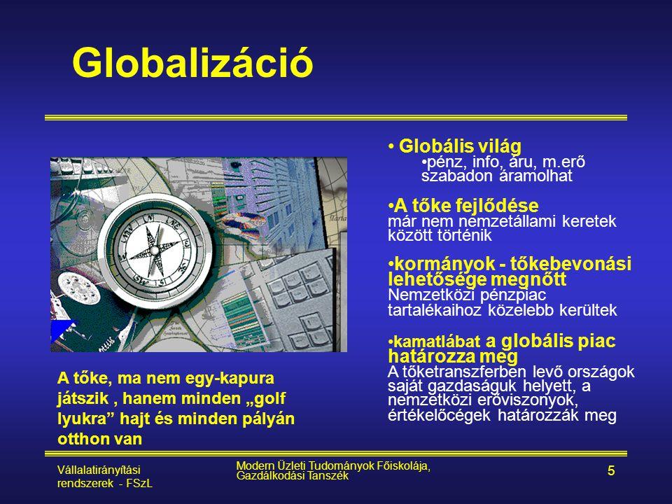 Vállalatirányítási rendszerek - FSzL Modern Üzleti Tudományok Főiskolája, Gazdálkodási Tanszék 6 Globalizáció - az egész világ egyetlen piac •Dereguláció •jogi és pü.