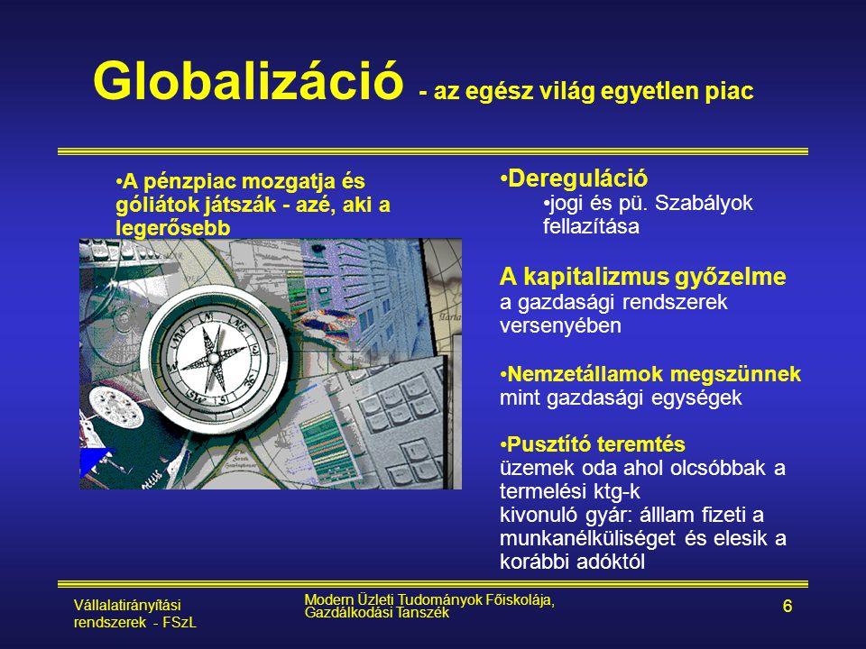 Vállalatirányítási rendszerek - FSzL Modern Üzleti Tudományok Főiskolája, Gazdálkodási Tanszék 6 Globalizáció - az egész világ egyetlen piac •Deregulá