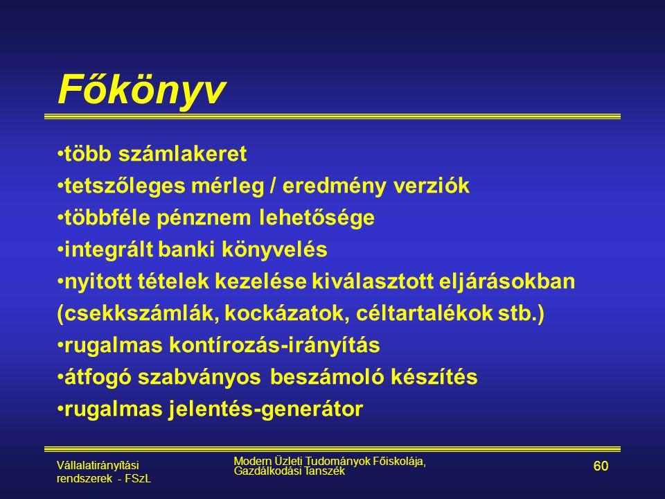 Vállalatirányítási rendszerek - FSzL Modern Üzleti Tudományok Főiskolája, Gazdálkodási Tanszék 60 Főkönyv •több számlakeret •tetszőleges mérleg / ered