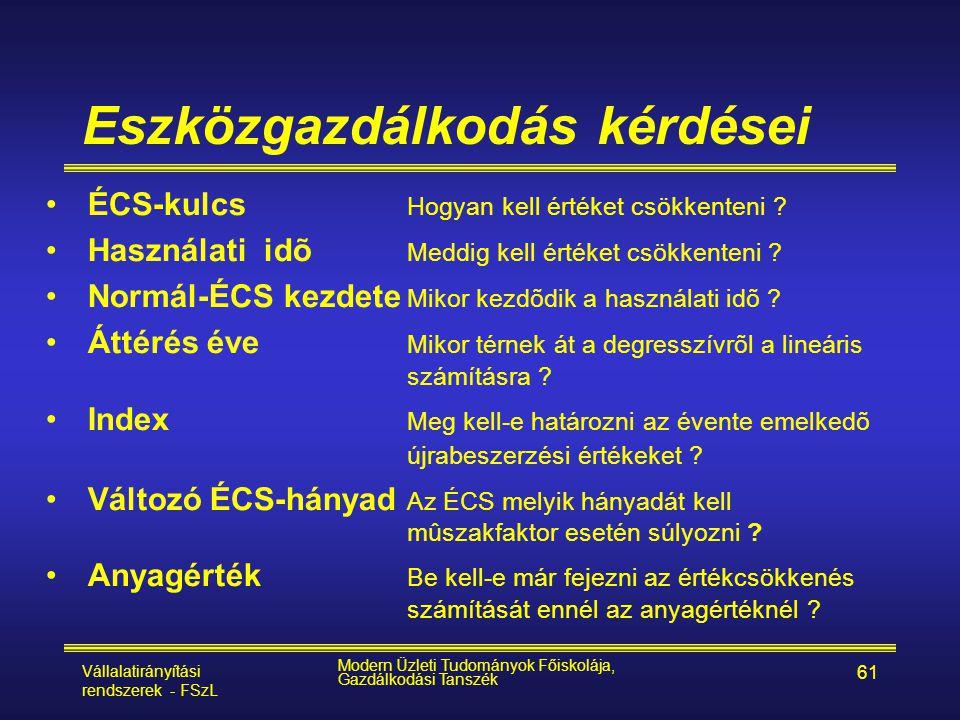 Vállalatirányítási rendszerek - FSzL Modern Üzleti Tudományok Főiskolája, Gazdálkodási Tanszék 61 Eszközgazdálkodás kérdései •ÉCS-kulcs Hogyan kell ér