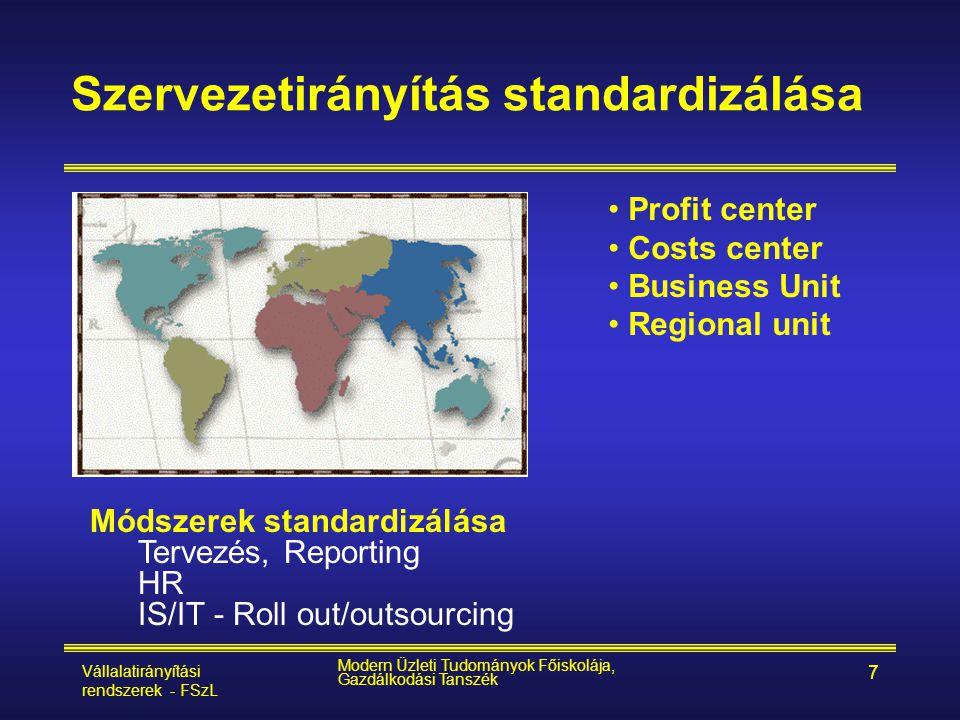Vállalatirányítási rendszerek - FSzL Modern Üzleti Tudományok Főiskolája, Gazdálkodási Tanszék 7 Szervezetirányítás standardizálása • Profit center •