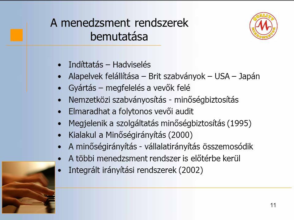11 A menedzsment rendszerek bemutatása •Indíttatás – Hadviselés •Alapelvek felállítása – Brit szabványok – USA – Japán •Gyártás – megfelelés a vevők felé •Nemzetközi szabványosítás - minőségbiztosítás •Elmaradhat a folytonos vevői audit •Megjelenik a szolgáltatás minőségbiztosítás (1995) •Kialakul a Minőségirányítás (2000) •A minőségirányítás - vállalatirányítás összemosódik •A többi menedzsment rendszer is előtérbe kerül •Integrált irányítási rendszerek (2002)