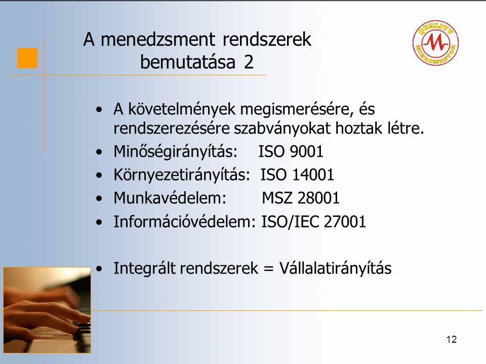 12 A menedzsment rendszerek bemutatása 2 •A követelmények megismerésére, és rendszerezésére szabványokat hoztak létre.