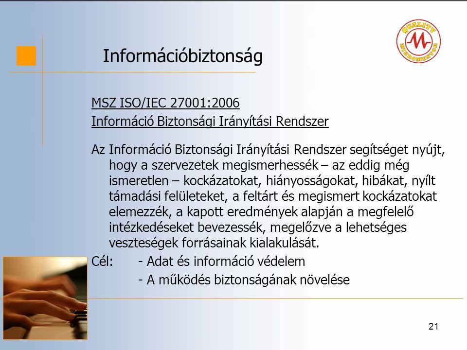 21 Információbiztonság MSZ ISO/IEC 27001:2006 Információ Biztonsági Irányítási Rendszer Az Információ Biztonsági Irányítási Rendszer segítséget nyújt, hogy a szervezetek megismerhessék – az eddig még ismeretlen – kockázatokat, hiányosságokat, hibákat, nyílt támadási felületeket, a feltárt és megismert kockázatokat elemezzék, a kapott eredmények alapján a megfelelő intézkedéseket bevezessék, megelőzve a lehetséges veszteségek forrásainak kialakulását.