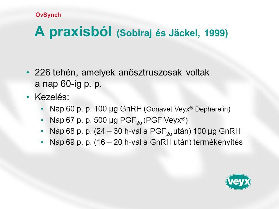 •226 tehén, amelyek anösztruszosak voltak a nap 60-ig p. p. •Kezelés: •Nap 60 p. p. 100 µg GnRH ( Gonavet Veyx ® Depherelin ) •Nap 67 p. p. 500 µg PGF