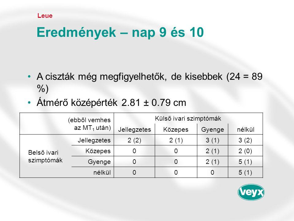 •A ciszták még megfigyelhetők, de kisebbek (24 = 89 %) •Átmérő középérték 2.81 ± 0.79 cm Leue Eredmények – nap 9 és 10 (ebből vemhes az MT 1 után) Kül