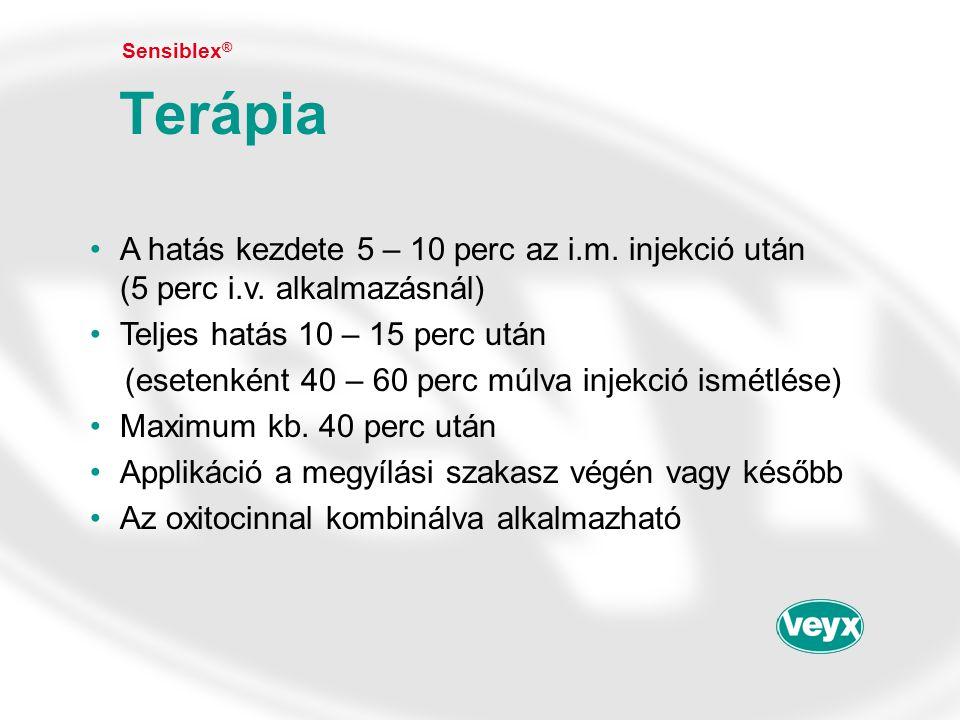 •A hatás kezdete 5 – 10 perc az i.m. injekció után (5 perc i.v. alkalmazásnál) •Teljes hatás 10 – 15 perc után (esetenként 40 – 60 perc múlva injekció