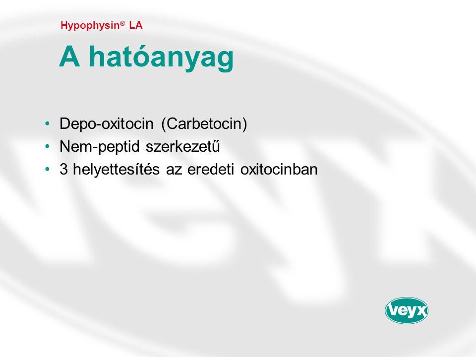 •Depo-oxitocin (Carbetocin) •Nem-peptid szerkezetű •3 helyettesítés az eredeti oxitocinban Hypophysin ® LA A hatóanyag