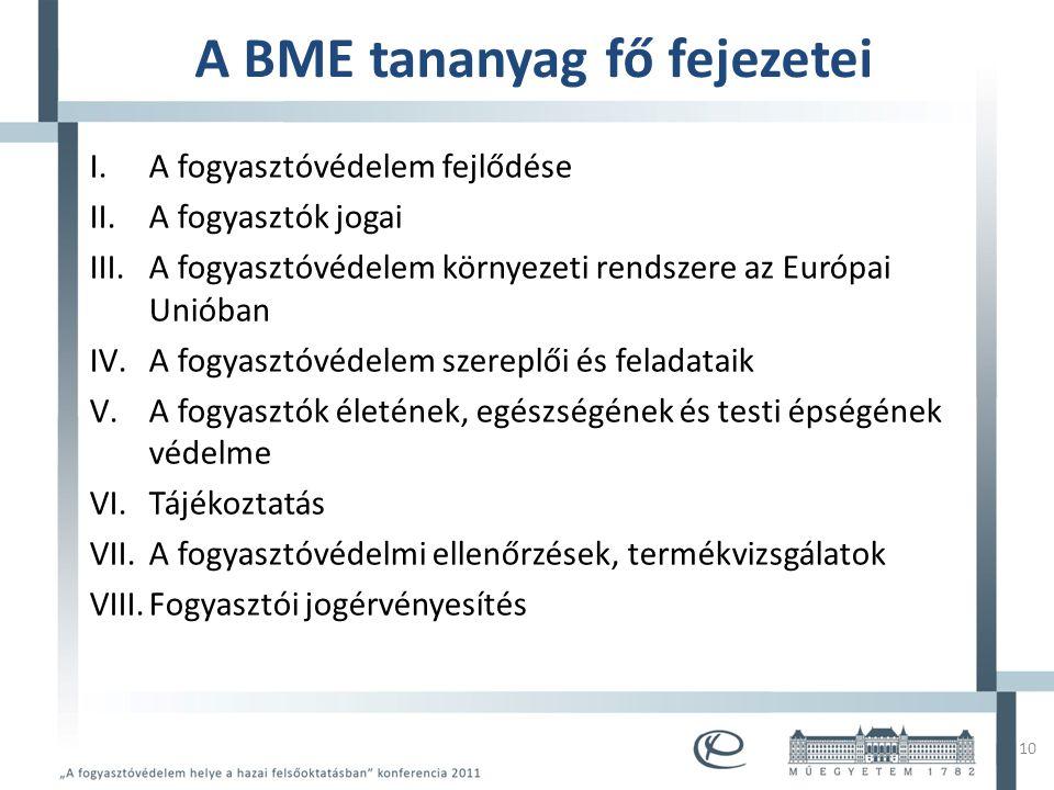 Mintacím szerkesztése • Mintaszöveg szerkesztése – Második szint • Harmadik szint – Negyedik szint » Ötödik szint A BME tananyag fő fejezetei I.A fogyasztóvédelem fejlődése II.A fogyasztók jogai III.A fogyasztóvédelem környezeti rendszere az Európai Unióban IV.A fogyasztóvédelem szereplői és feladataik V.A fogyasztók életének, egészségének és testi épségének védelme VI.Tájékoztatás VII.A fogyasztóvédelmi ellenőrzések, termékvizsgálatok VIII.Fogyasztói jogérvényesítés 10