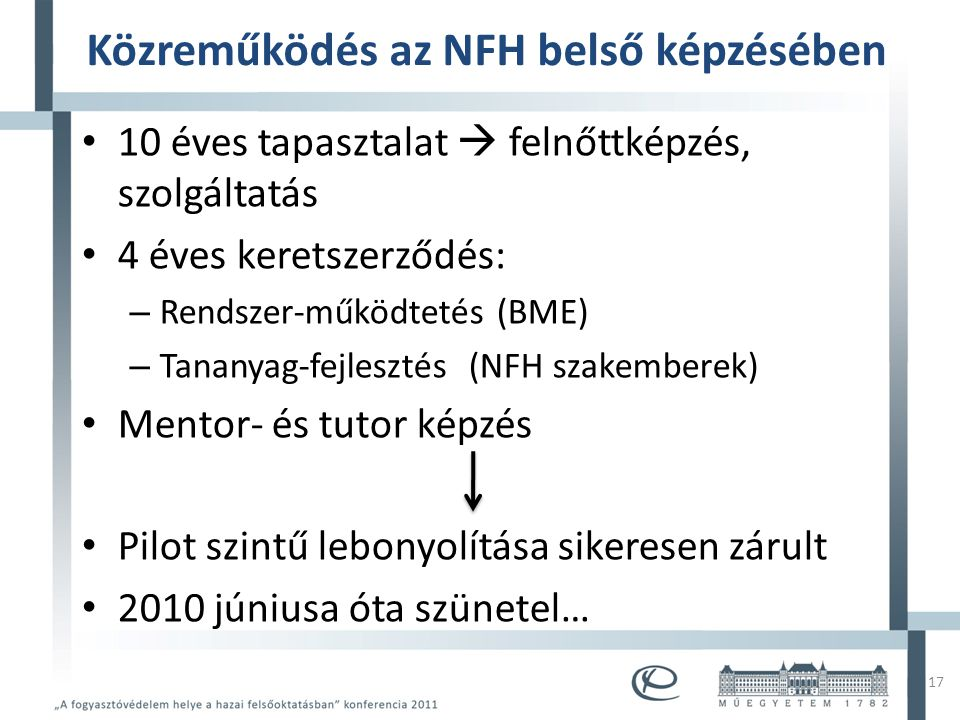 Mintacím szerkesztése • Mintaszöveg szerkesztése – Második szint • Harmadik szint – Negyedik szint » Ötödik szint Közreműködés az NFH belső képzésében • 10 éves tapasztalat  felnőttképzés, szolgáltatás • 4 éves keretszerződés: – Rendszer-működtetés (BME) – Tananyag-fejlesztés (NFH szakemberek) • Mentor- és tutor képzés • Pilot szintű lebonyolítása sikeresen zárult • 2010 júniusa óta szünetel… 17