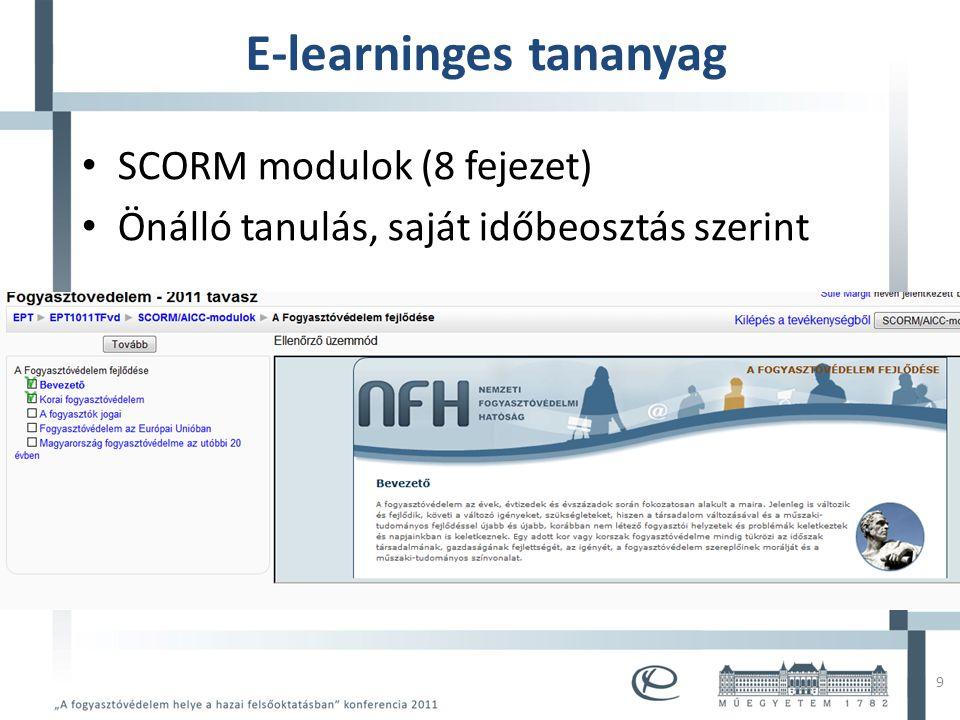 Mintacím szerkesztése • Mintaszöveg szerkesztése – Második szint • Harmadik szint – Negyedik szint » Ötödik szint E-learninges tananyag • SCORM modulok (8 fejezet) • Önálló tanulás, saját időbeosztás szerint 9
