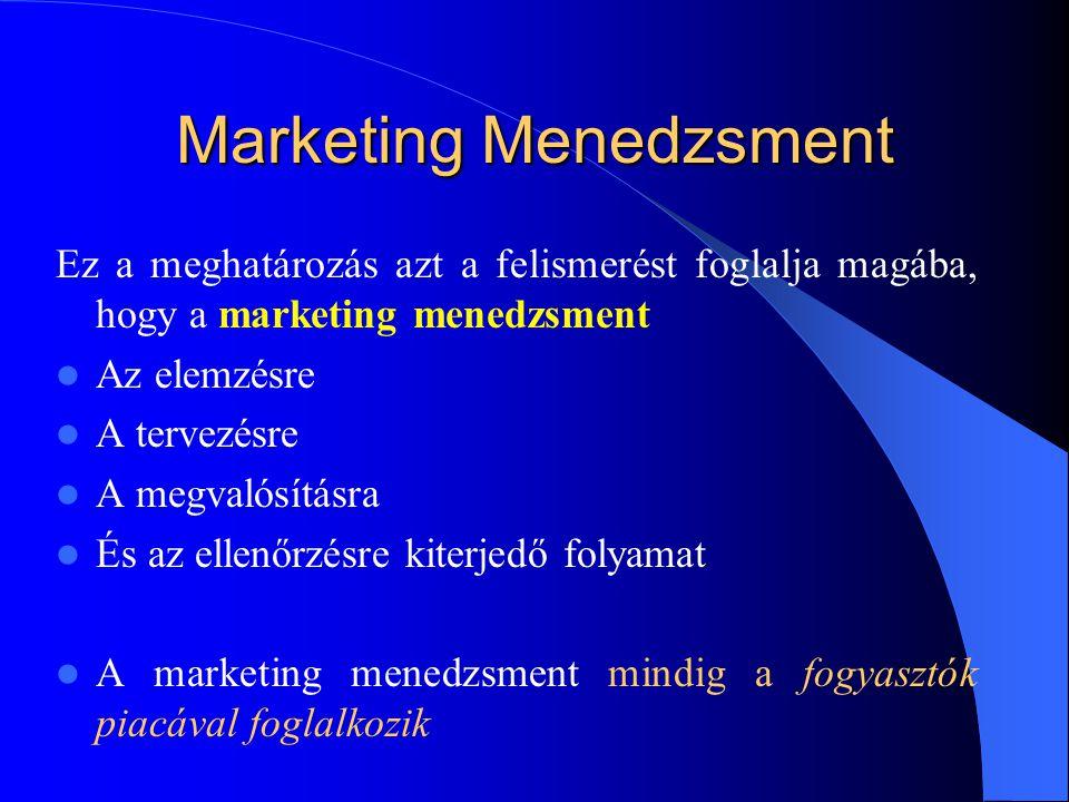 Marketing Menedzsment Ez a meghatározás azt a felismerést foglalja magába, hogy a marketing menedzsment  Az elemzésre  A tervezésre  A megvalósítás