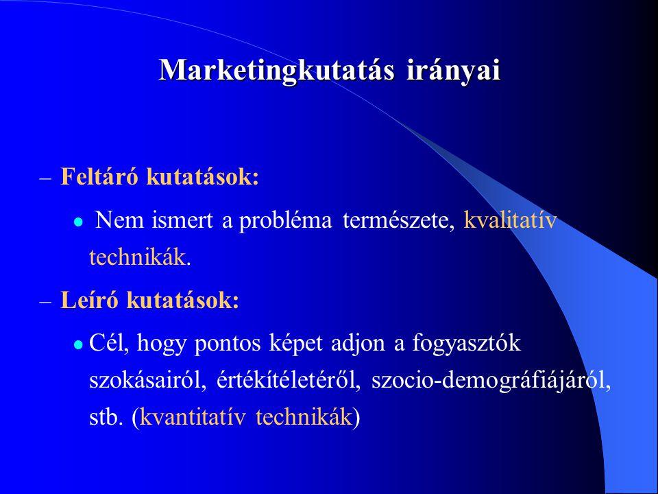 Marketingkutatás irányai – Feltáró kutatások:  Nem ismert a probléma természete, kvalitatív technikák. – Leíró kutatások:  Cél, hogy pontos képet ad