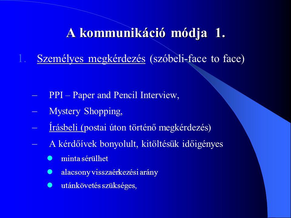 A kommunikáció módja 1. 1. Személyes megkérdezés (szóbeli-face to face) – PPI – Paper and Pencil Interview, – Mystery Shopping, – Írásbeli (postai úto