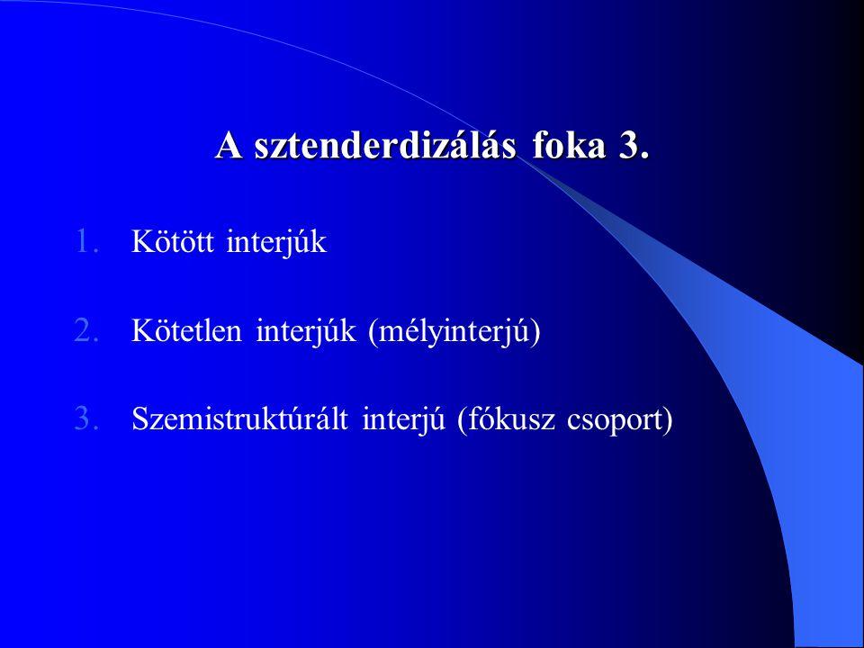 A sztenderdizálás foka 3. 1. Kötött interjúk 2. Kötetlen interjúk (mélyinterjú) 3. Szemistruktúrált interjú (fókusz csoport)