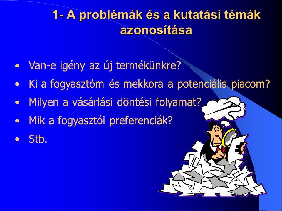 1- A problémák és a kutatási témák azonosítása •Van-e igény az új termékünkre? •Ki a fogyasztóm és mekkora a potenciális piacom? •Milyen a vásárlási d
