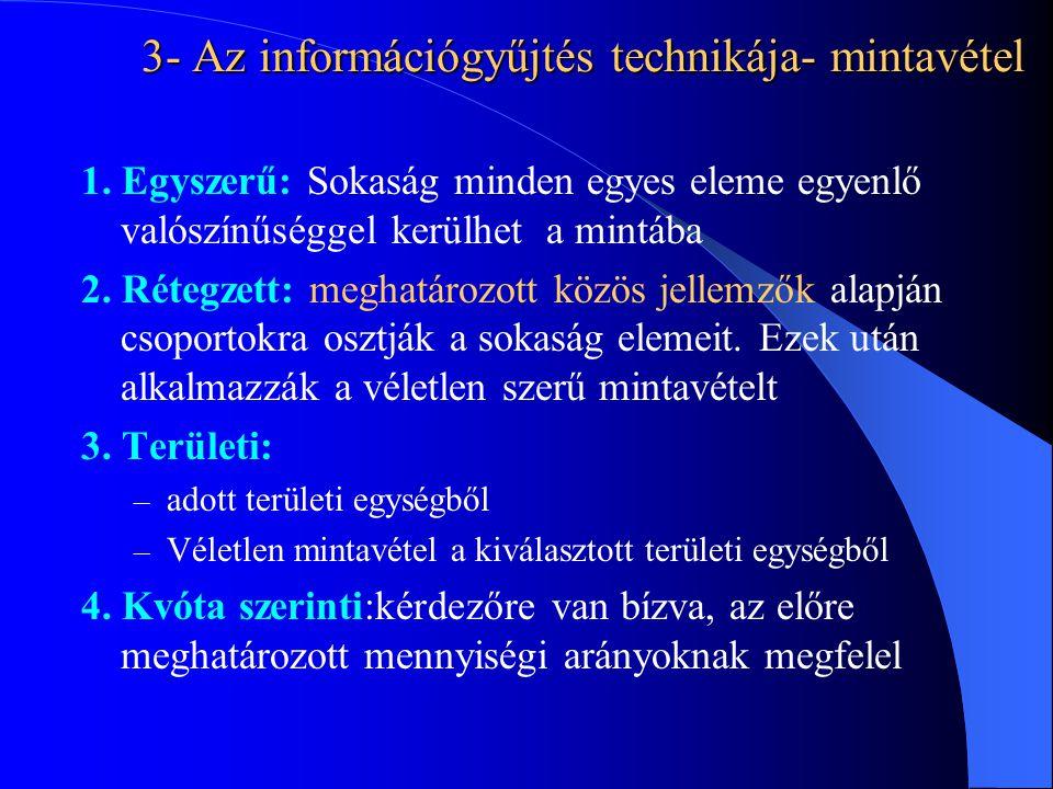 3- Az információgyűjtés technikája- mintavétel 1. Egyszerű: Sokaság minden egyes eleme egyenlő valószínűséggel kerülhet a mintába 2. Rétegzett: meghat