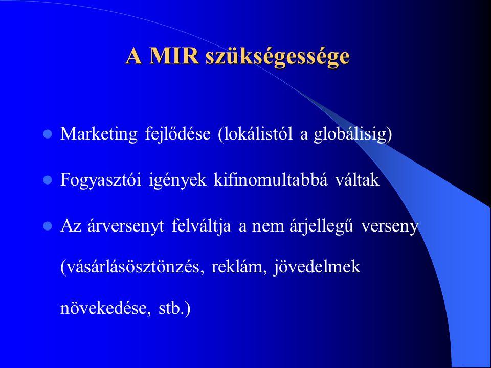 A MIR szükségessége  Marketing fejlődése (lokálistól a globálisig)  Fogyasztói igények kifinomultabbá váltak  Az árversenyt felváltja a nem árjelle