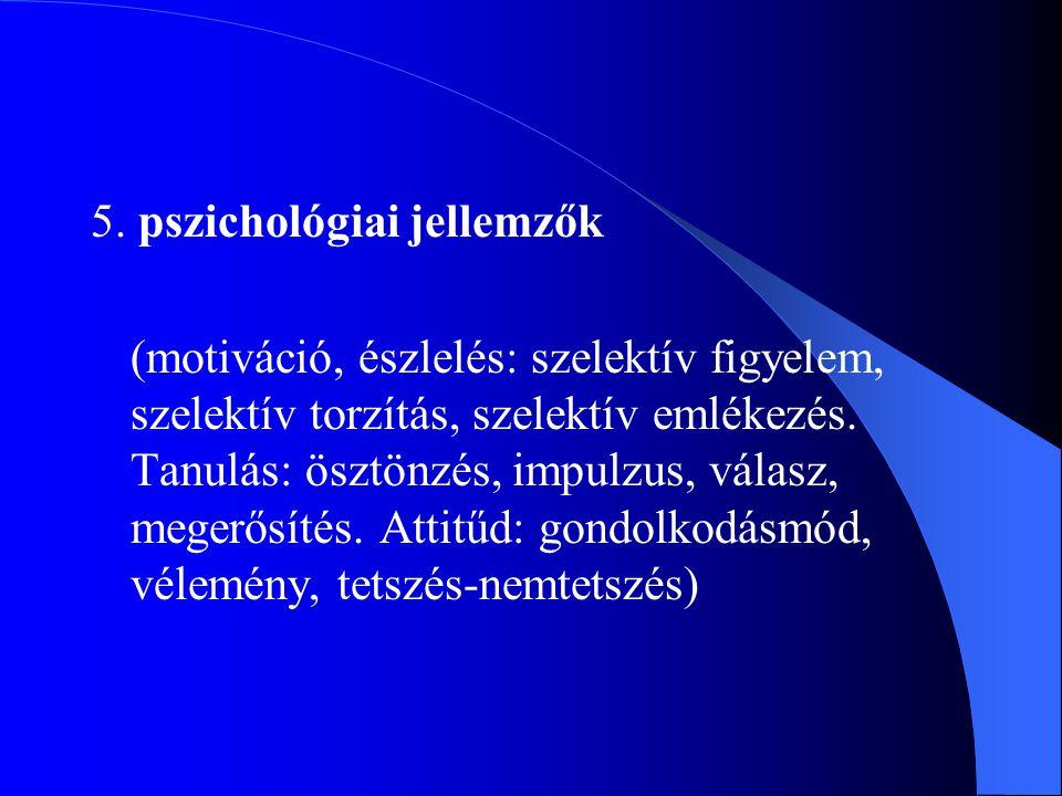 5. pszichológiai jellemzők (motiváció, észlelés: szelektív figyelem, szelektív torzítás, szelektív emlékezés. Tanulás: ösztönzés, impulzus, válasz, me
