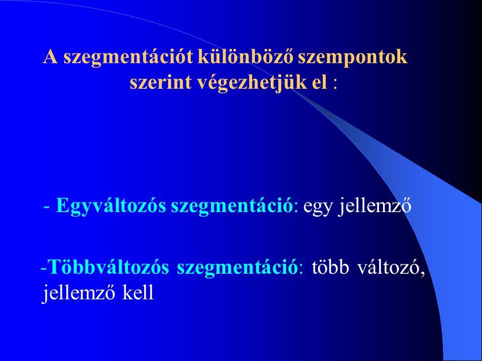 A szegmentációt különböző szempontok szerint végezhetjük el : - Egyváltozós szegmentáció: egy jellemző -Többváltozós szegmentáció: több változó, jelle