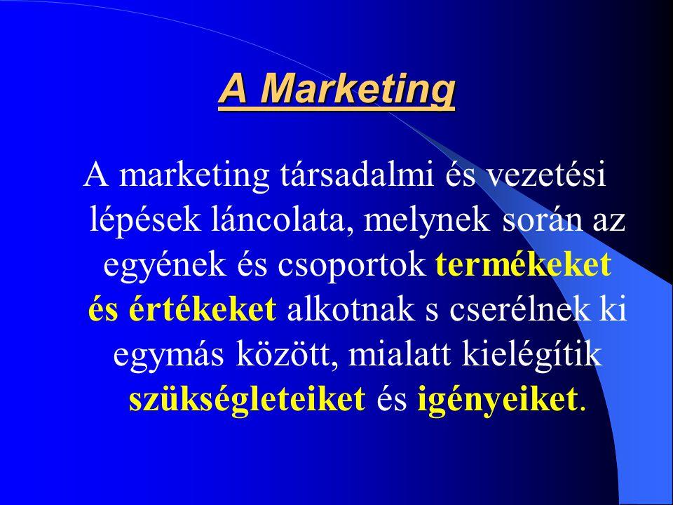 A Marketing A marketing társadalmi és vezetési lépések láncolata, melynek során az egyének és csoportok termékeket és értékeket alkotnak s cserélnek k