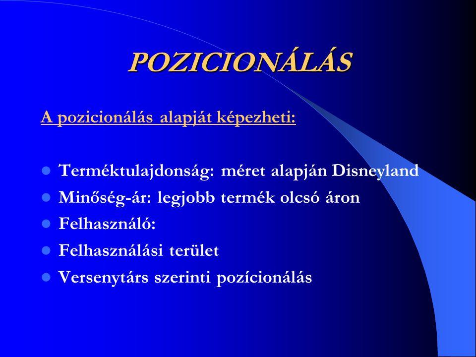 POZICIONÁLÁS A pozicionálás alapját képezheti:  Terméktulajdonság: méret alapján Disneyland  Minőség-ár: legjobb termék olcsó áron  Felhasználó: 