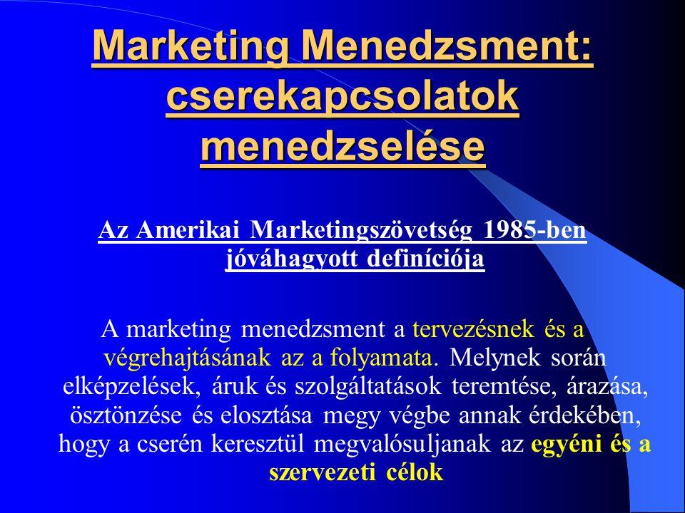 Marketing Menedzsment: cserekapcsolatok menedzselése Az Amerikai Marketingszövetség 1985-ben jóváhagyott definíciója A marketing menedzsment a tervezé