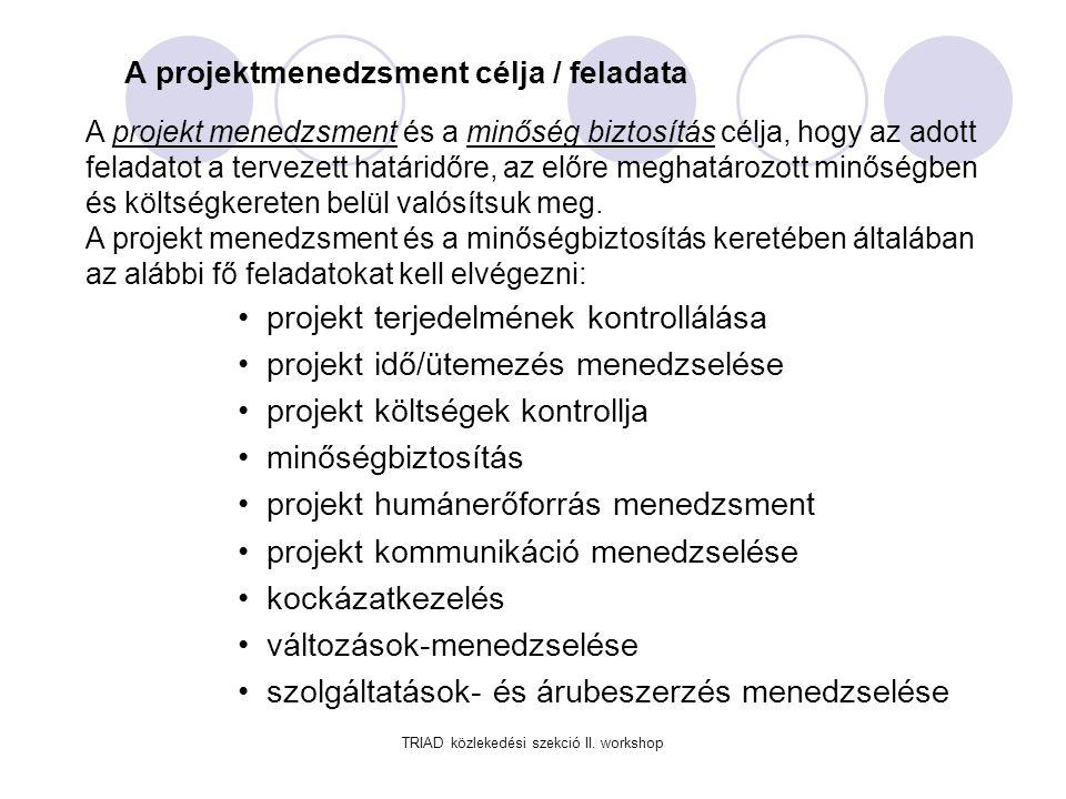 TRIAD közlekedési szekció II.workshop Projekt menedzsment funkciók I.
