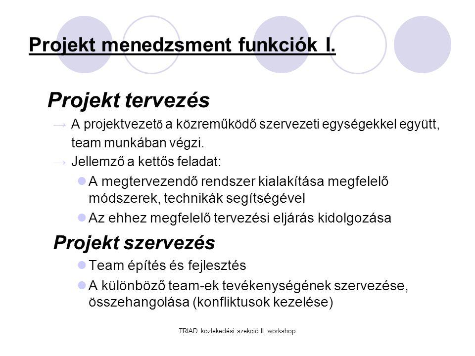 TRIAD közlekedési szekció II.workshop Projekt menedzsment funkciók II.