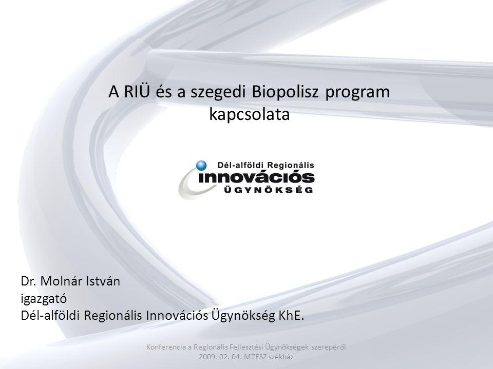 A RIÜ és a szegedi Biopolisz program kapcsolata Konferencia a Regionális Fejlesztési Ügynökségek szerepéről 2009.