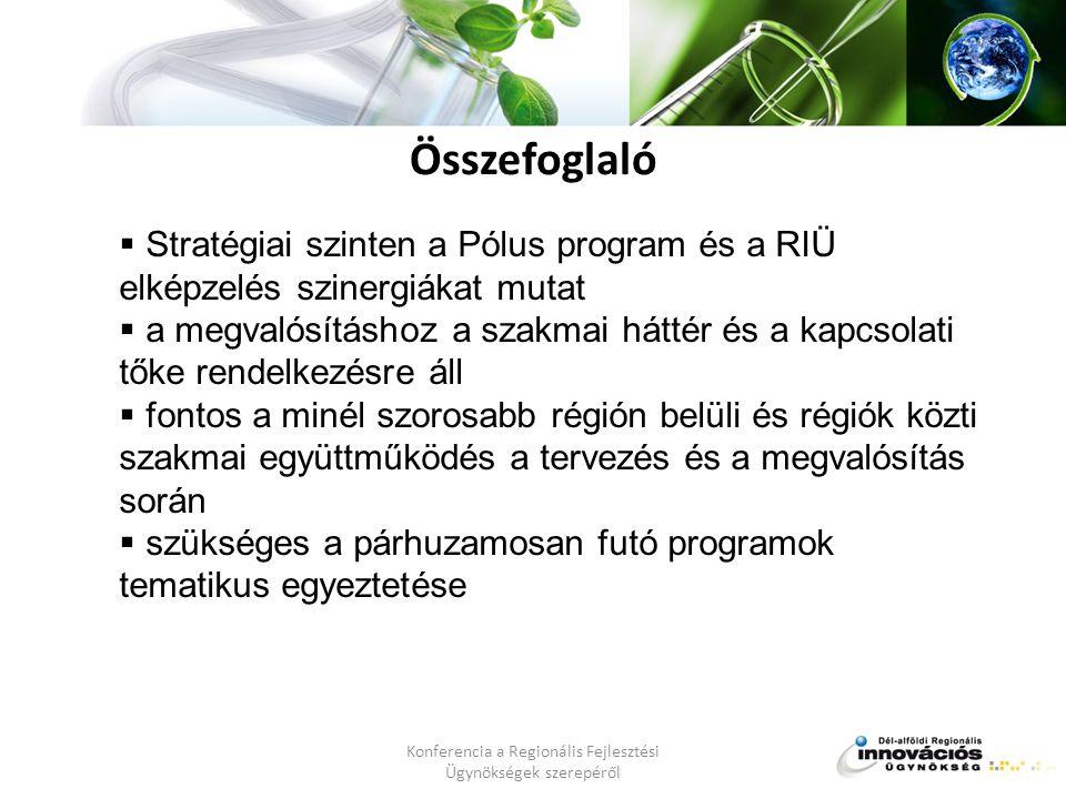  Stratégiai szinten a Pólus program és a RIÜ elképzelés szinergiákat mutat  a megvalósításhoz a szakmai háttér és a kapcsolati tőke rendelkezésre áll  fontos a minél szorosabb régión belüli és régiók közti szakmai együttműködés a tervezés és a megvalósítás során  szükséges a párhuzamosan futó programok tematikus egyeztetése Összefoglaló
