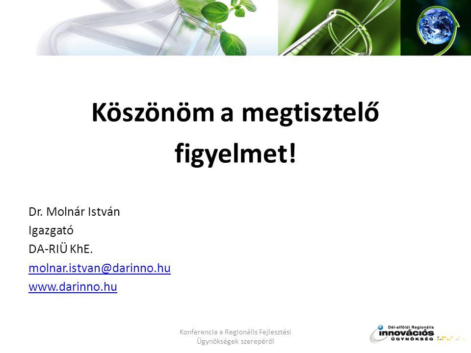 Köszönöm a megtisztelő figyelmet. Dr. Molnár István Igazgató DA-RIÜ KhE.