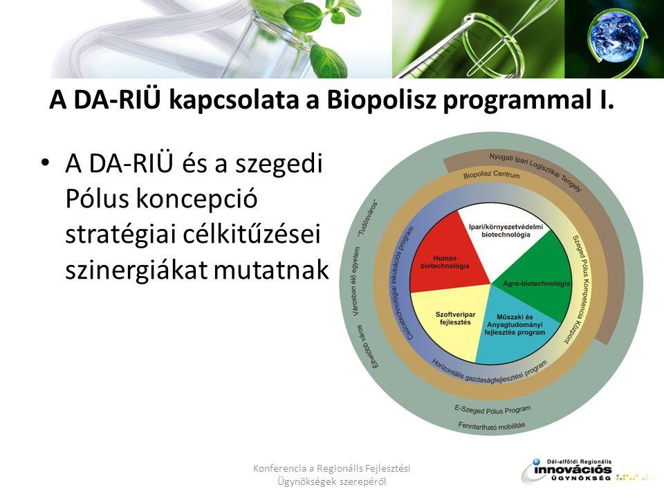 A DA-RIÜ kapcsolata a Biopolisz programmal I.