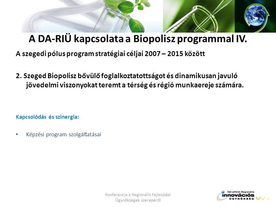 A DA-RIÜ kapcsolata a Biopolisz programmal IV.